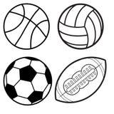 Sport piłek mieszkania Minimalnej linii ikony Wektorowy set Piłka nożna, futbol Fotografia Royalty Free