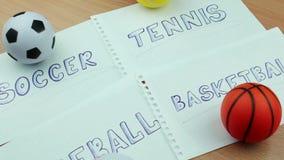 Sport piłki i tekst na papierze zbiory