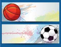 Sport piłki sztandary Zdjęcia Royalty Free