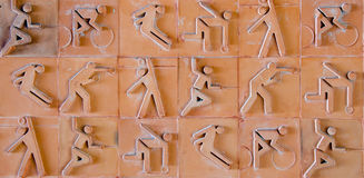 Sport Pictogram. Sport Icon Set On Earthenware Brick Stock Images