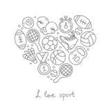 Sport Pictogrammen in de vorm van een hart Royalty-vrije Stock Afbeelding