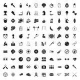 Sport 100 pictogrammen voor Web worden geplaatst dat Royalty-vrije Stock Afbeelding