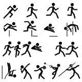 Sport-Piktogramm-Ikone stellte Spur 02 u. Feld ein Lizenzfreie Stockfotos