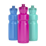 Sport plastic bottles. Three sport plastic bottles with different colors royalty free illustration
