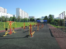 Sport playground, fitness equipment outdoor Stock Photography