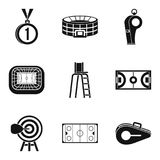Sport playground icons set, simple style. Sport playground icons set. Simple set of 9 sport playground vector icons for web isolated on white background Stock Image