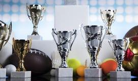 Sport podium, Cups of winners award. Achievement trophy, winning sport background stock images