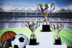 Sport podium, Cups of winners award. Cups of winners award on white podium, sport background stock photography