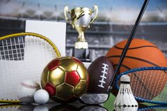 Sport podium, Cups of winners award. Cups of winners award on white podium, sport background royalty free stock photo