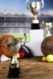 Sport podium, Cups of winners award. Cups of winners award on white podium, sport background stock images