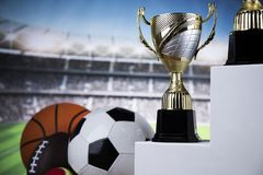 Sport podium, Cups of winners award. Cups of winners award on white podium, sport background stock photos