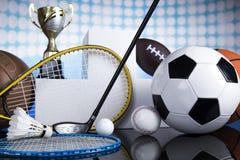 Sport podium, Cups of winners award. Winner podium sports symbols, winners award stock image