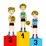 Sport Podium Winners. Young athletic sports men celebrating victory with flowers and laurel wreath on podium Royalty Free Stock Photography
