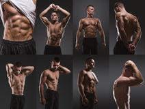 Sport portrait. Concept. Healthy muscular young man collage. Sport portrait. Concept Stock Photos