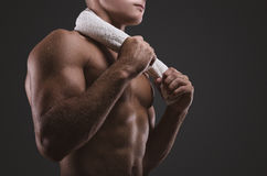 Sport portrait. Concept. Healthy muscular young man.  Sport portrait. Detail Stock Photos