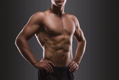 Sport portrait. Concept. Healthy muscular young man.  Sport portrait. Detail Stock Image