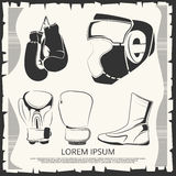 Sport poster with boxing helmet, gloves and shoes Stock Photos
