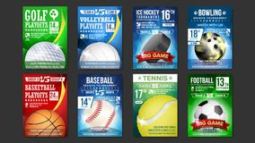Sport-Poster eingestellter Vektor Golf, Baseball, Eis-Hockey, Bowlingspiel, Basketball, Tennis, Fußball, Fußball Ereignis-Mitteil Stockbild