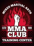 Sport poster of mma mixing fight concept illustrations. Vector mixed martial art club, training cente banner Stock Images
