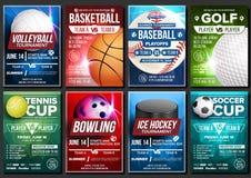 Sport Poster Set Vector. Basketball, Tennis, Soccer, Football, Golf, Baseball, Ice Hockey, Bowling. Vertical Design For