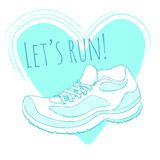 Sport poster with vector running shoe and text let Stock Images