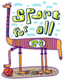 Sport pour tous Animal et basket-ball illustration de vecteur