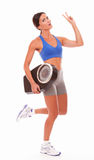 Sport pretty woman measuring weight loss Royalty Free Stock Photography