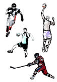 Sport quartet. Four sportsmen in the white background Royalty Free Stock Photography