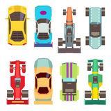 Sport race cars top view flat vector icons. Speed transport for competition illustration Royalty Free Stock Photography