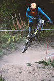 Sport race Mountain biker extreme and fun downhill track. Royalty Free Stock Image