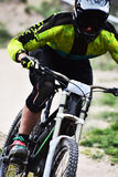 Sport race Mountain biker extreme and fun downhill track. Royalty Free Stock Photo