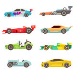Sport racing car flat vector icons isolated on white. Background. Speed motor drive illustration Royalty Free Stock Photography