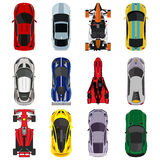Sport and racing cars top view icons set Royalty Free Stock Photo