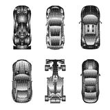 Sport and racing cars top view icons set Stock Images
