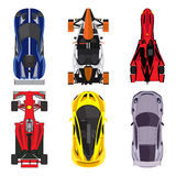 Sport and racing cars top view icons set  on white background.  vector illustration Royalty Free Stock Photos