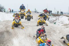 Sport racing on snowmobiles Royalty Free Stock Photo