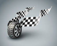 Sport racing wheel with flapping flags Royalty Free Stock Image