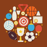 Sport Recreation and Competion Vector Flat Design Circle Shaped. Objects Set with Shadow. Flat Design Vector Illustration. Collection of Sports and Activities Royalty Free Stock Photo