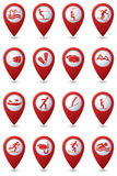 Sport and recreation icon set on map pointers Royalty Free Stock Photos