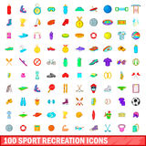 100 sport recreation icons set, cartoon style. 100 sport recreation icons set in cartoon style for any design vector illustration Stock Image