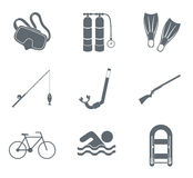 Sport and recreation icons set. Vector illustration Royalty Free Stock Image