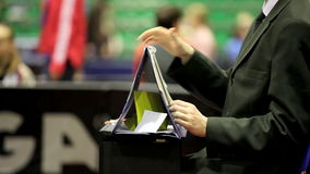 Sport referee. Referee at the competitions in table tennis stock footage