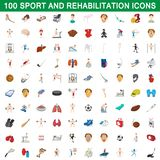 100 sport and rehabilitation set, cartoon style. 100 sport and rehabilitation set in cartoon style for any design illustration stock illustration