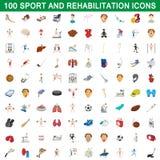 100 sport and rehabilitation set, cartoon style Royalty Free Stock Photos