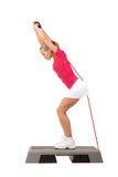 Sport-Reihe: Stepp-Aerobic mit Gewichten Stockbilder