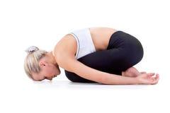 Sport-Reihe: Yoga Childs-Haltung Stockbild