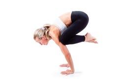 Sport-Reihe: Yoga Krähen-Haltung Stockfotos