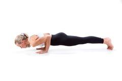Sport-Reihe: Yoga Planken-Position Stockfoto