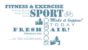 Sport Related, Fitness, Outdoor Motivational Text. Horizontal and Vertical Alignment. Stock Photography