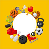 Sport related icons. In a circle shape over yellow background. colorful design. vector illustration Stock Images